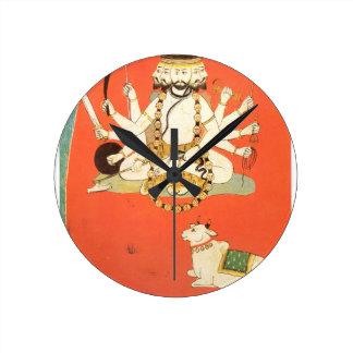 Shiva con su toro sagrado Nandi Reloj Redondo Mediano