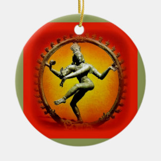 Shiva Dancing in Fire by Sharles Double-Sided Ceramic Round Christmas Ornament