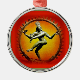 Shiva Dancing in Fire by Sharles Round Metal Christmas Ornament