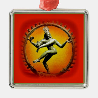 Shiva Dancing in Fire by Sharles Square Metal Christmas Ornament