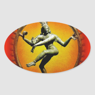 Shiva Dancing in Fire by Sharles Oval Sticker