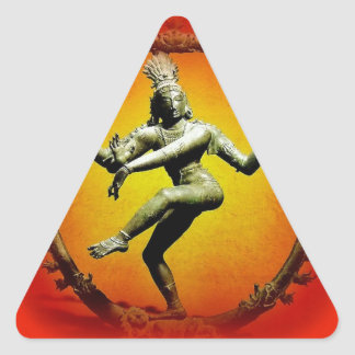Shiva Dancing in Fire by Sharles Triangle Sticker