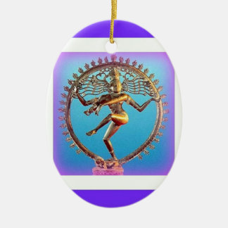 Shiva Dancing in Violet Mysticism by Sharles Double-Sided Oval Ceramic Christmas Ornament