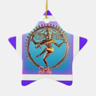 Shiva Dancing in Violet Mysticism by Sharles Double-Sided Star Ceramic Christmas Ornament