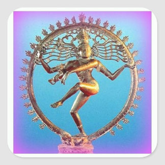 Shiva Dancing in Violet Mysticism by Sharles Square Sticker