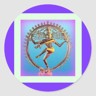 Shiva Dancing in Violet Mysticism by Sharles Classic Round Sticker