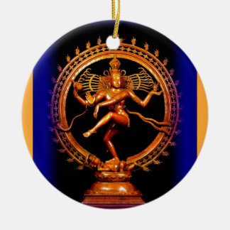 Shiva Dancing on Blue by Sharles Double-Sided Ceramic Round Christmas Ornament