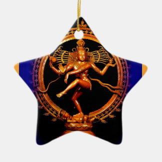 Shiva Dancing on Blue by Sharles Double-Sided Star Ceramic Christmas Ornament