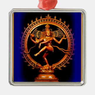 Shiva Dancing on Blue by Sharles Metal Ornament