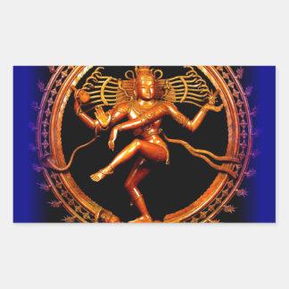 Shiva Dancing on Blue by Sharles Rectangular Sticker