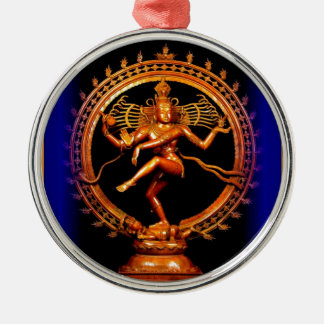 Shiva Dancing on Blue by Sharles Round Metal Christmas Ornament