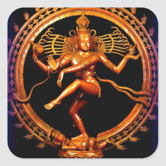 Shiva Dancing on Blue by Sharles Square Sticker