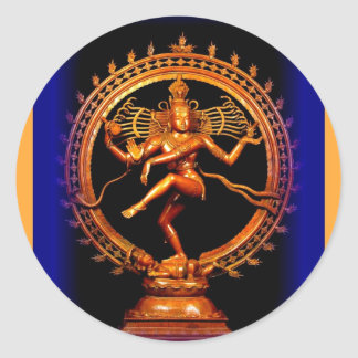 Shiva Dancing on Blue by Sharles Classic Round Sticker