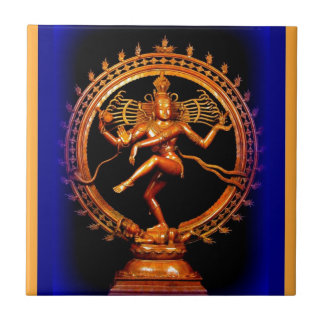 Shiva Dancing on Blue by Sharles Tile