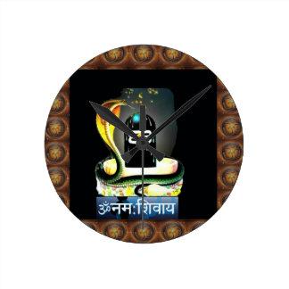 SHIVA LINGA SNAKE Sacred Script - Display GIFTS Round Clocks