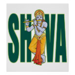 Shiva playing Flute Poster