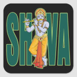 Shiva playing Flute Square Stickers