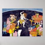 Shiva que baila la pintura india poster