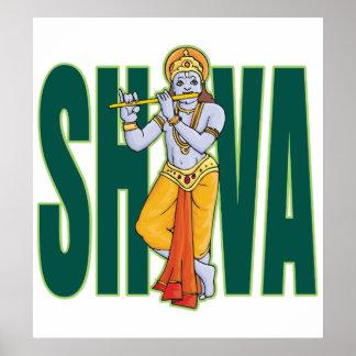 Shiva que toca la flauta póster