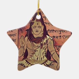 Shiva sitting dark ceramic ornament