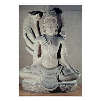 Shiva with ten arms, from Thap Banh It Temple, Print