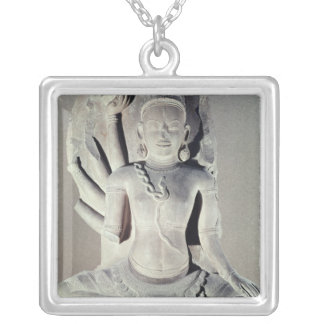 Shiva with ten arms, from Thap Banh It Temple, Silver Plated Necklace