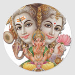 Shiva y familia pegatina redonda