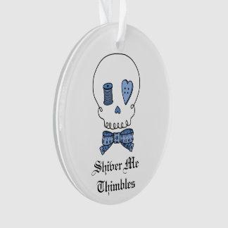 Shiver Me Thimbles - Sewing Skull (Blue) Ornament