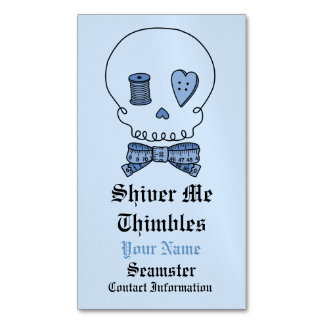 Shiver Me Thimbles -Sewing Skull (Bow Tie) Magnetic Business Card