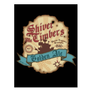 Shiver Me Timbers Label Postcard