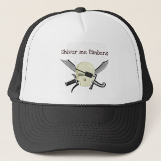 SHIVER ME TIMBERS PIRATE PRINT TRUCKER HAT