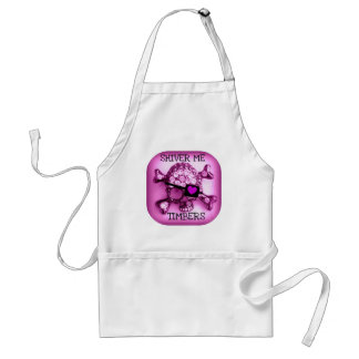 SHIVER ME TIMBERS SKULLY PIRATE PINK PRINT ADULT APRON