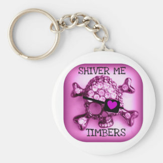 SHIVER ME TIMBERS SKULLY PIRATE PINK PRINT BASIC ROUND BUTTON KEYCHAIN