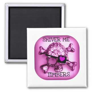 SHIVER ME TIMBERS SKULLY PIRATE PINK PRINT MAGNET