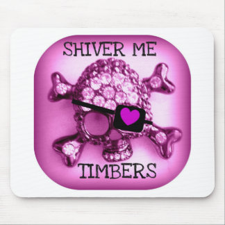 SHIVER ME TIMBERS SKULLY PIRATE PINK PRINT MOUSE PAD