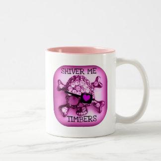 SHIVER ME TIMBERS SKULLY PIRATE PINK PRINT COFFEE MUG