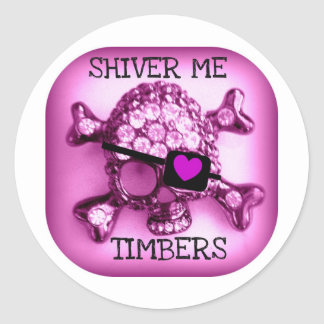 SHIVER ME TIMBERS SKULLY PIRATE PINK PRINT ROUND STICKER