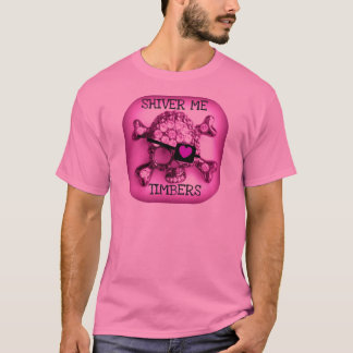 SHIVER ME TIMBERS SKULLY PIRATE PINK PRINT T-Shirt