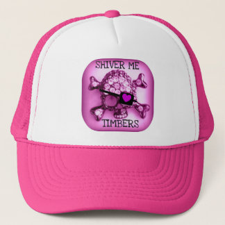 SHIVER ME TIMBERS SKULLY PIRATE PINK PRINT TRUCKER HAT