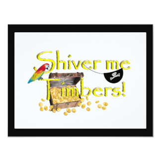 SHIVER ME TIMBERS! - Text w/Pirate Chest Custom Invitations