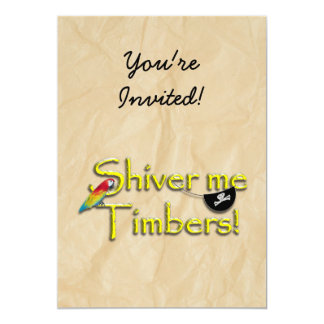SHIVER ME TIMBERS! Text with Parrot & Eye Patch Custom Invite