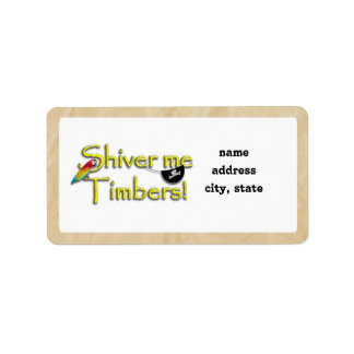 SHIVER ME TIMBERS! Text with Parrot & Eye Patch Custom Address Label