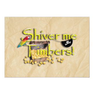 SHIVER ME TIMBERS! Text with Pirate Chest Custom Invitations