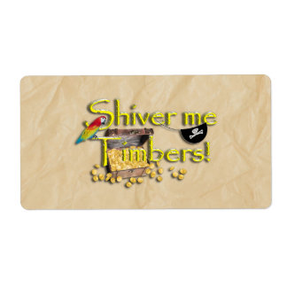 SHIVER ME TIMBERS! Text with Pirate Chest Custom Shipping Labels