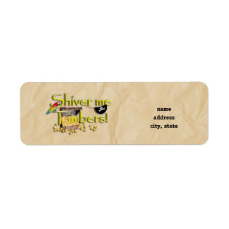 SHIVER ME TIMBERS! Text with Pirate Chest Return Address Labels