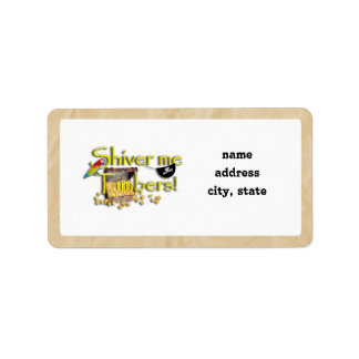 SHIVER ME TIMBERS! Text with Pirate Chest Custom Address Label