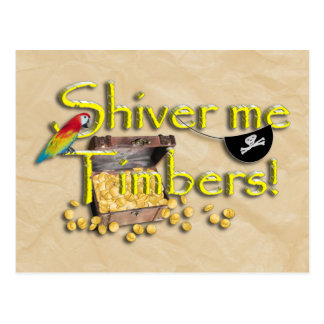 SHIVER ME TIMBERS! Text with Pirate Chest Postcards