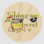 SHIVER ME TIMBERS! Text with Pirate Chest Classic Round Sticker