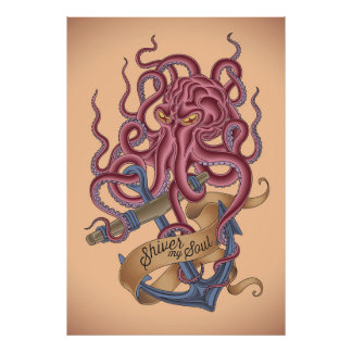 Shiver My Soul | Octopus Tatto Poster