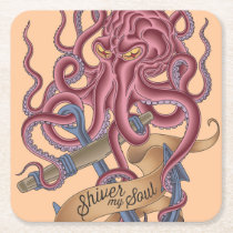 Shiver My Soul | Octopus Tatto Square Paper Coaster